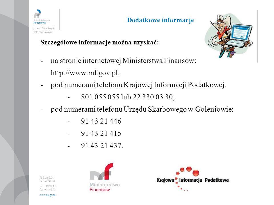 na stronie internetowej Ministerstwa Finansów: http://www.mf.gov.pl,