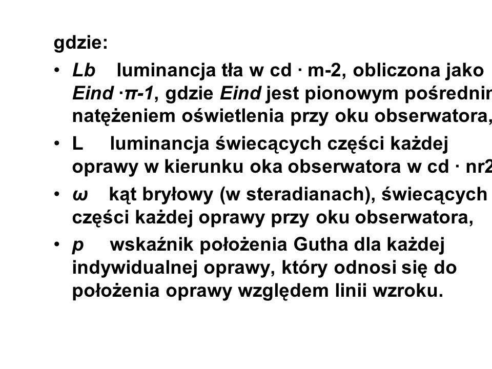 gdzie: Lb luminancja tła w cd · m-2, obliczona jako Eind ·π-1, gdzie Eind jest pionowym pośrednim natężeniem oświetlenia przy oku obserwatora,