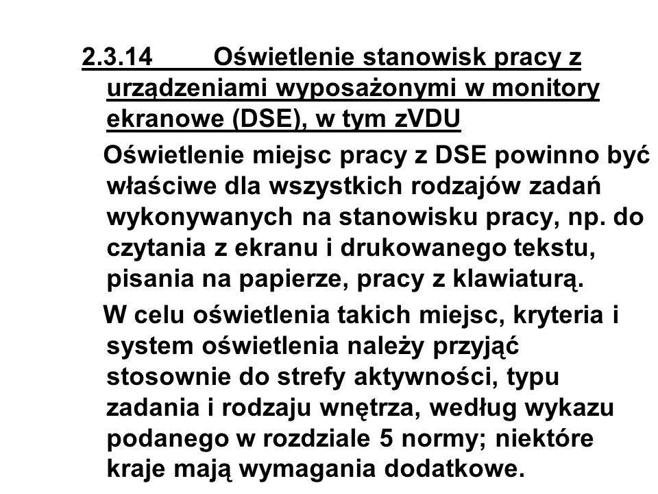 2.3.14 Oświetlenie stanowisk pracy z urządzeniami wyposażonymi w monitory ekranowe (DSE), w tym zVDU