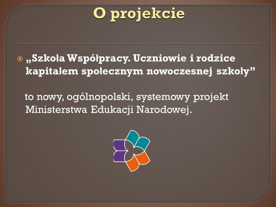 """O projekcie """"Szkoła Współpracy. Uczniowie i rodzice kapitałem społecznym nowoczesnej szkoły"""
