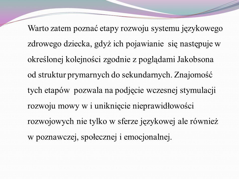 Warto zatem poznać etapy rozwoju systemu językowego zdrowego dziecka, gdyż ich pojawianie się następuje w określonej kolejności zgodnie z poglądami Jakobsona od struktur prymarnych do sekundarnych.