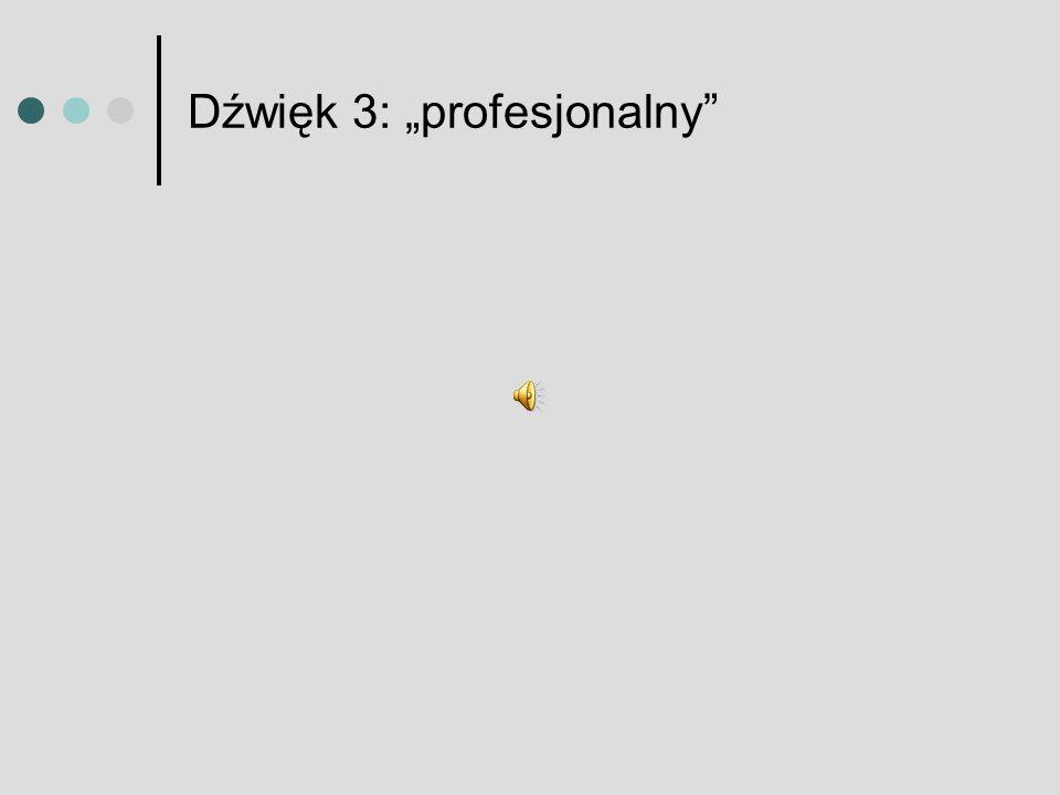 """Dźwięk 3: """"profesjonalny"""