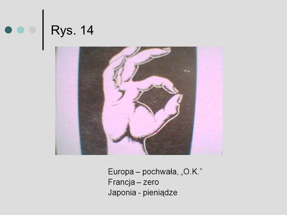 """Rys. 14 Europa – pochwała, """"O.K. Francja – zero Japonia - pieniądze"""