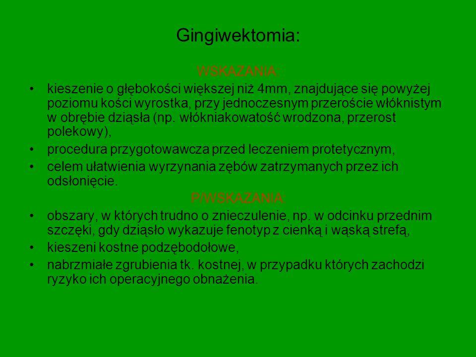Gingiwektomia: WSKAZANIA: