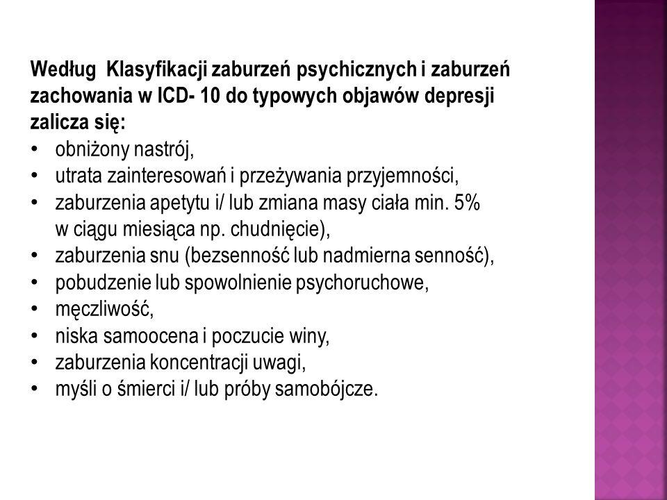 Według Klasyfikacji zaburzeń psychicznych i zaburzeń zachowania w ICD- 10 do typowych objawów depresji zalicza się: