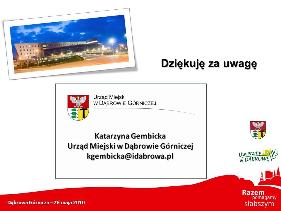 Dziękuję za uwagę Dąbrowa Górnicza – 28 maja 2010