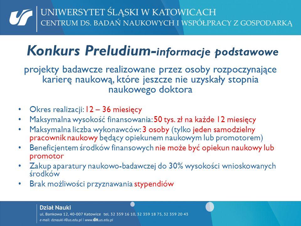 Konkurs Preludium-informacje podstawowe
