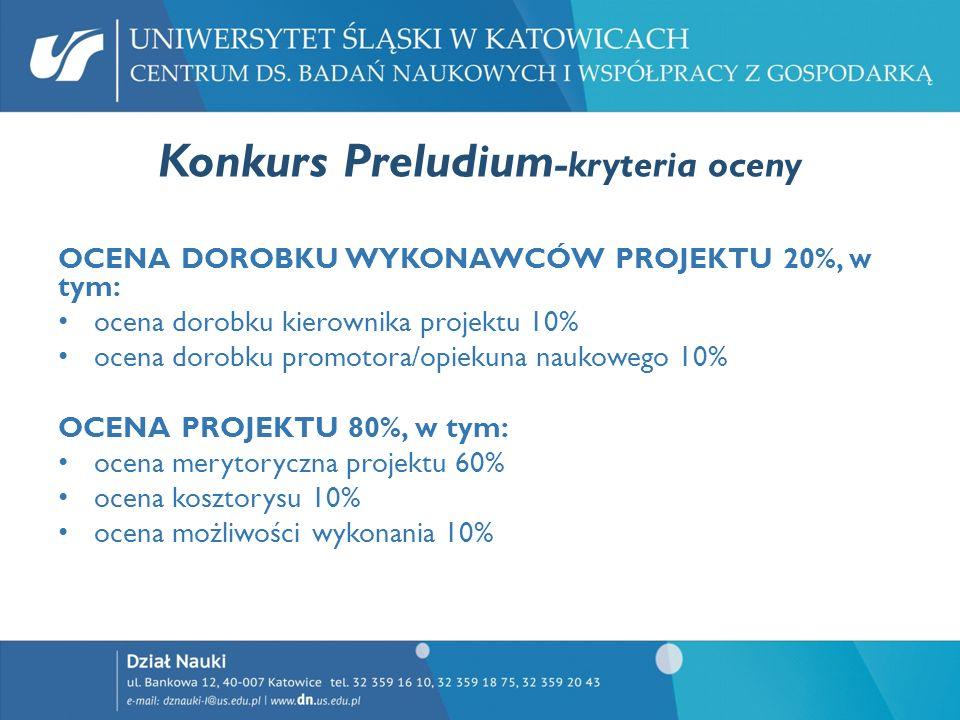 Konkurs Preludium-kryteria oceny