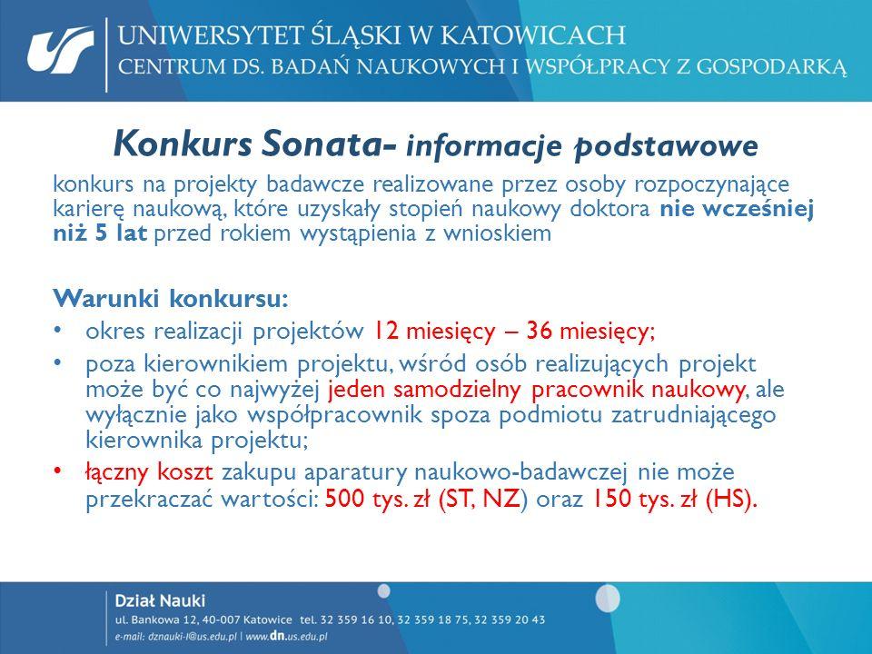 Konkurs Sonata- informacje podstawowe