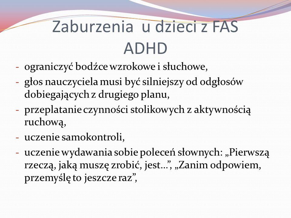 Zaburzenia u dzieci z FAS ADHD
