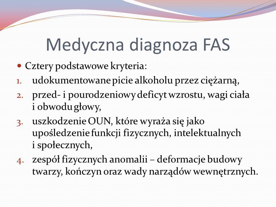 Medyczna diagnoza FAS Cztery podstawowe kryteria: