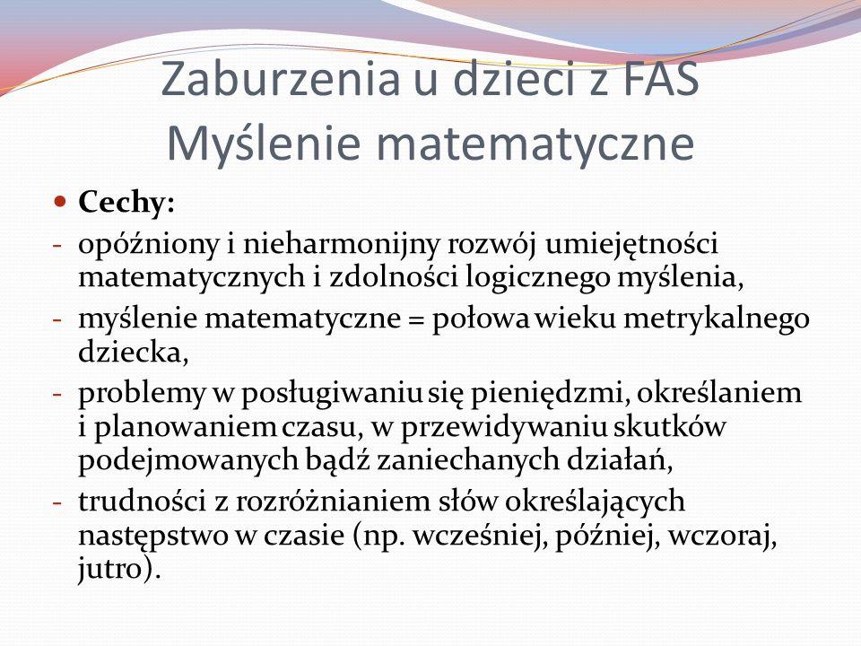 Zaburzenia u dzieci z FAS Myślenie matematyczne
