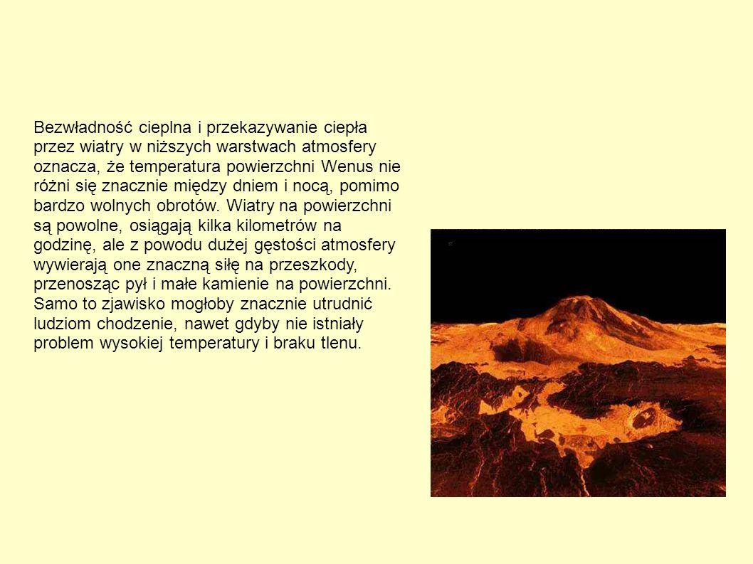 Bezwładność cieplna i przekazywanie ciepła przez wiatry w niższych warstwach atmosfery oznacza, że temperatura powierzchni Wenus nie różni się znacznie między dniem i nocą, pomimo bardzo wolnych obrotów.
