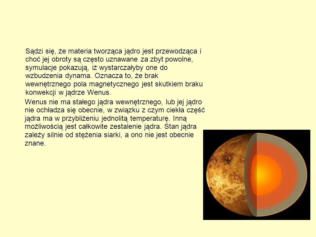 Sądzi się, że materia tworząca jądro jest przewodząca i choć jej obroty są często uznawane za zbyt powolne, symulacje pokazują, iż wystarczałyby one do wzbudzenia dynama. Oznacza to, że brak wewnętrznego pola magnetycznego jest skutkiem braku konwekcji w jądrze Wenus.