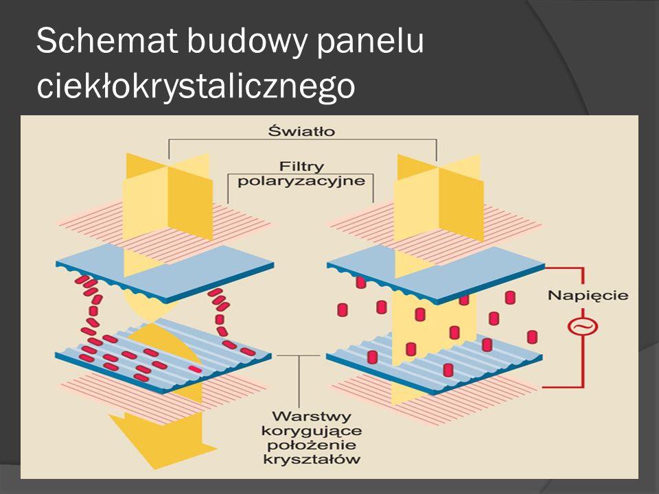 Schemat budowy panelu ciekłokrystalicznego