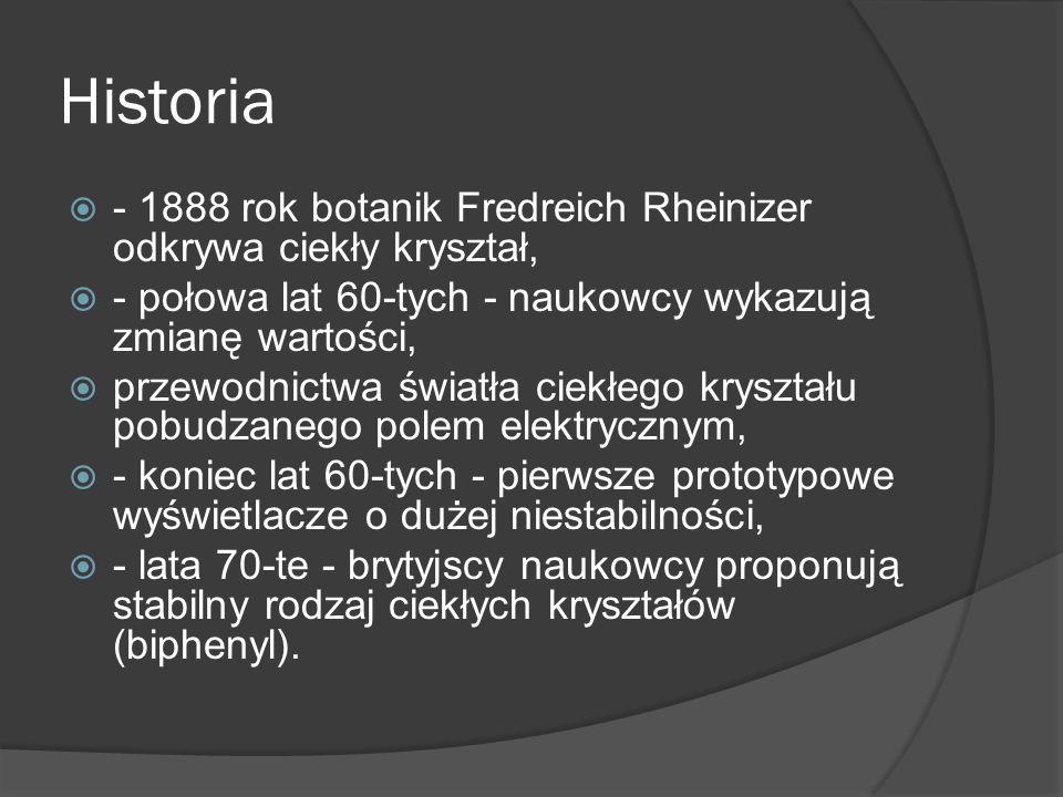 Historia - 1888 rok botanik Fredreich Rheinizer odkrywa ciekły kryształ, - połowa lat 60-tych - naukowcy wykazują zmianę wartości,