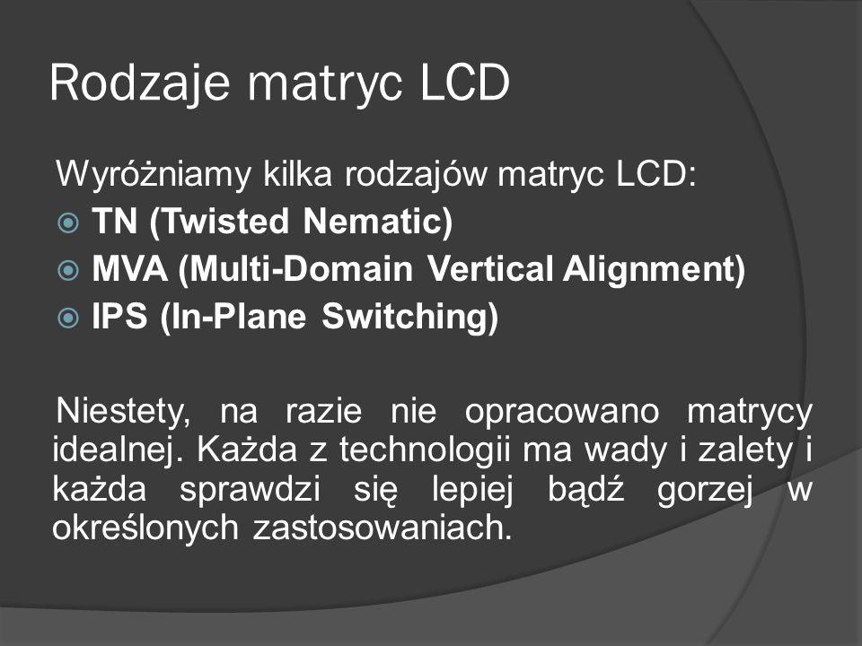 Rodzaje matryc LCD Wyróżniamy kilka rodzajów matryc LCD:
