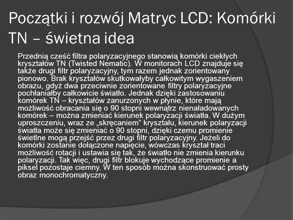 Początki i rozwój Matryc LCD: Komórki TN – świetna idea