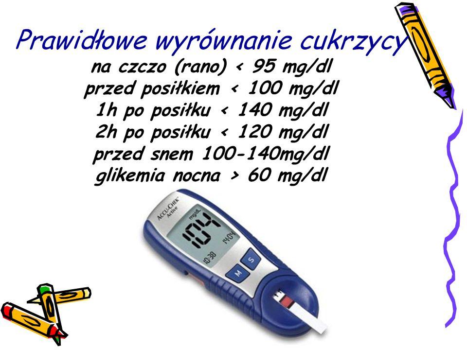 Prawidłowe wyrównanie cukrzycy na czczo (rano) < 95 mg/dl przed posiłkiem < 100 mg/dl 1h po posiłku < 140 mg/dl 2h po posiłku < 120 mg/dl przed snem 100-140mg/dl glikemia nocna > 60 mg/dl