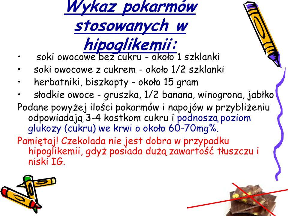 Wykaz pokarmów stosowanych w hipoglikemii: