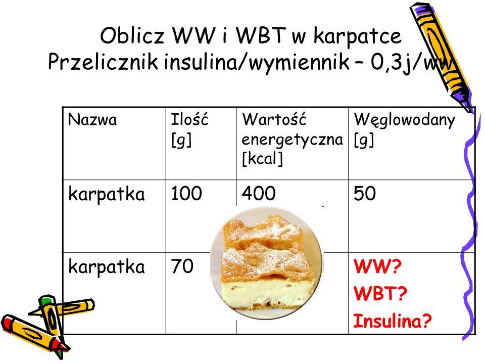 Oblicz WW i WBT w karpatce Przelicznik insulina/wymiennik – 0,3j/ww