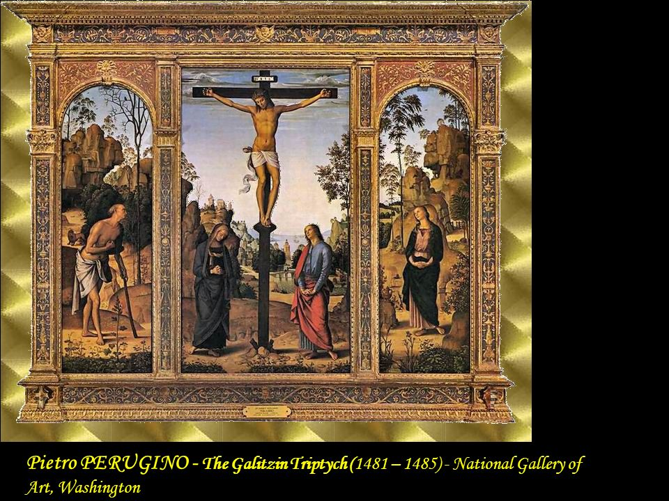 The Galitzin Triptych 1481-85 Tempera, transferred from wood to canvas National Gallery of Art, Washington Pietro PERUGINO