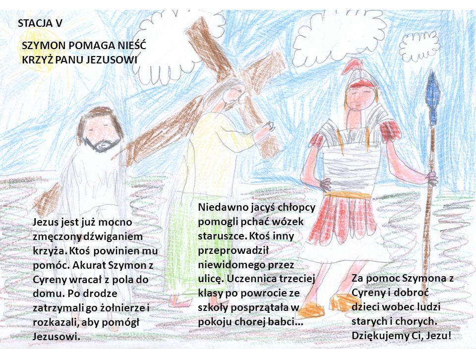 STACJA V SZYMON POMAGA NIEŚĆ KRZYŻ PANU JEZUSOWI.