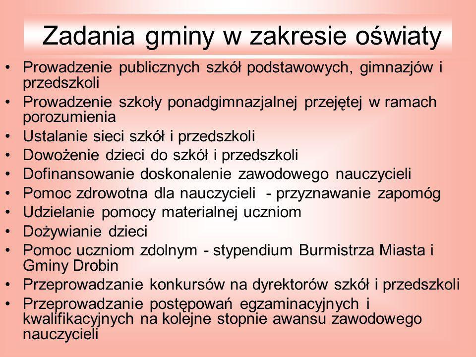 Zadania gminy w zakresie oświaty
