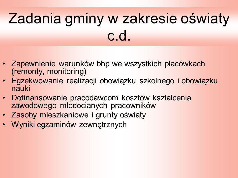 Zadania gminy w zakresie oświaty c.d.