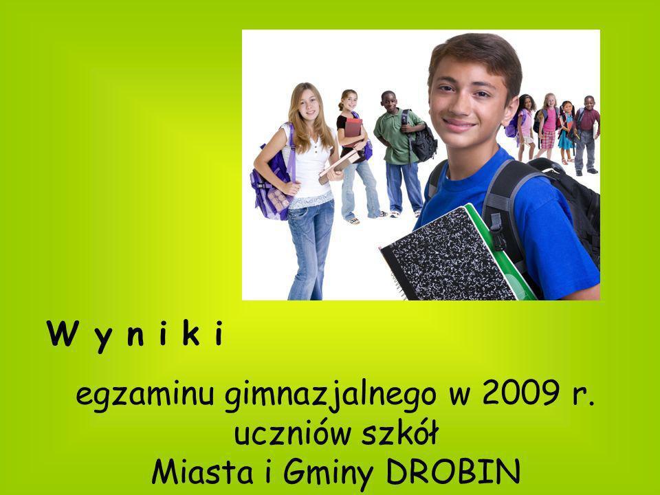 egzaminu gimnazjalnego w 2009 r. uczniów szkół Miasta i Gminy DROBIN