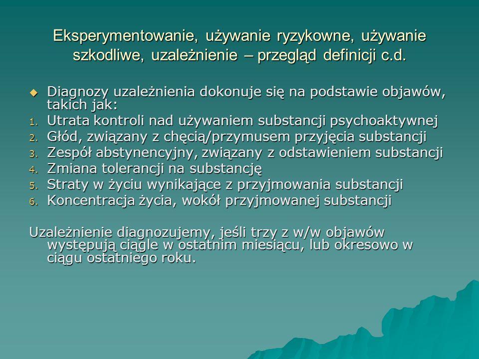 Eksperymentowanie, używanie ryzykowne, używanie szkodliwe, uzależnienie – przegląd definicji c.d.