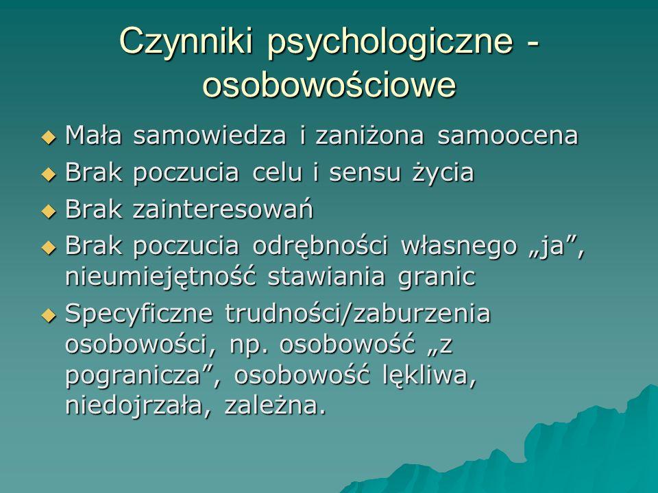 Czynniki psychologiczne - osobowościowe