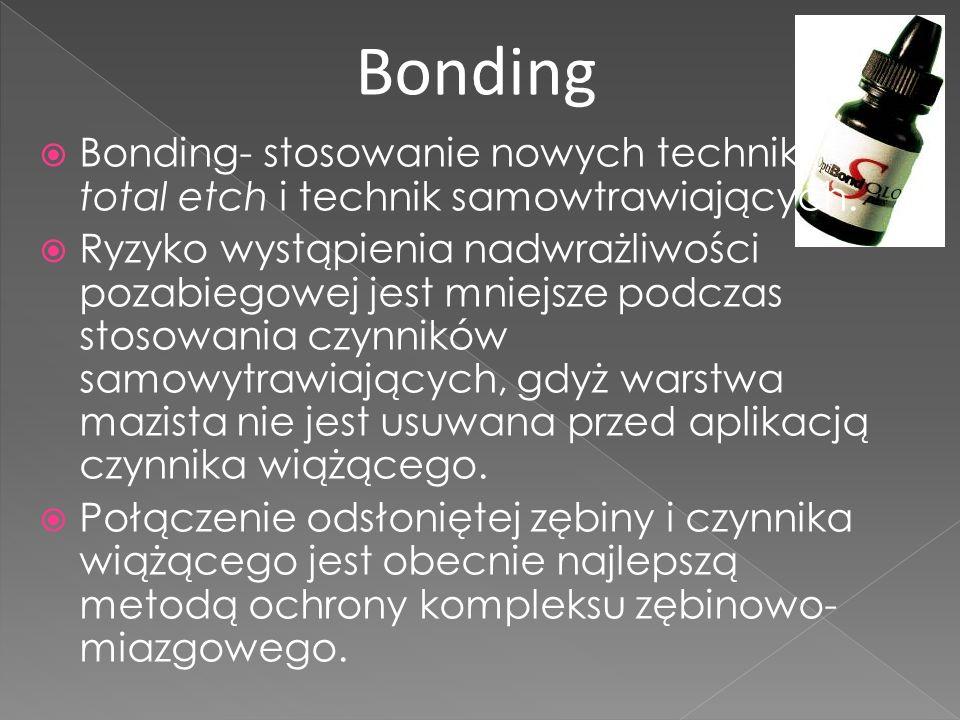 Bonding Bonding- stosowanie nowych technik total etch i technik samowtrawiających.