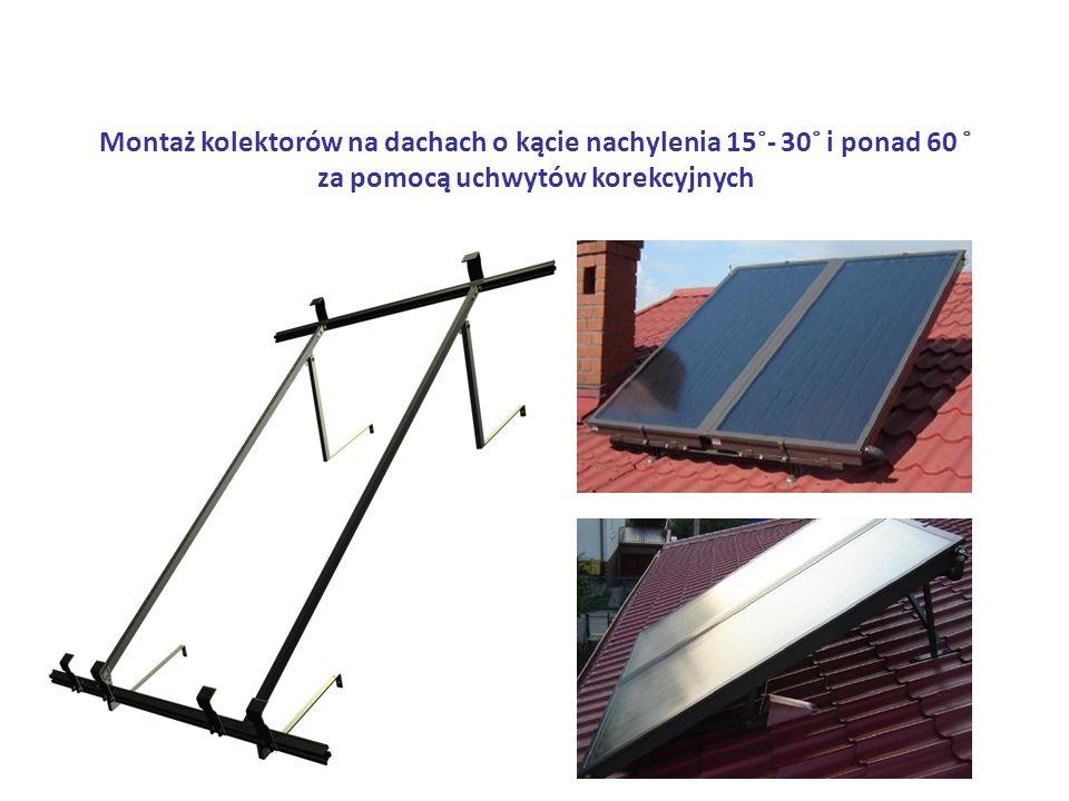 Montaż kolektorów na dachach o kącie nachylenia 15˚- 30˚ i ponad 60 ˚ za pomocą uchwytów korekcyjnych