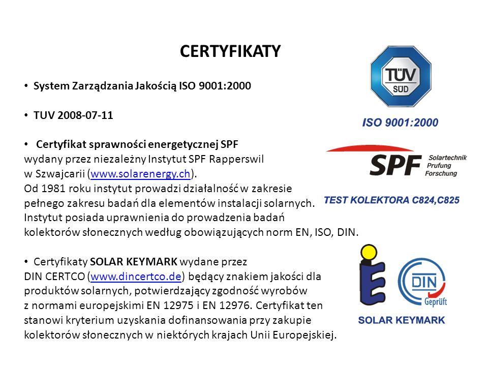CERTYFIKATY System Zarządzania Jakością ISO 9001:2000 TUV 2008-07-11