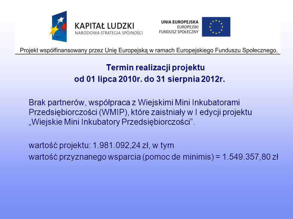 Termin realizacji projektu od 01 lipca 2010r. do 31 sierpnia 2012r