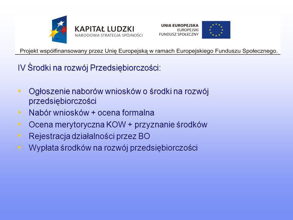 IV Środki na rozwój Przedsiębiorczości: