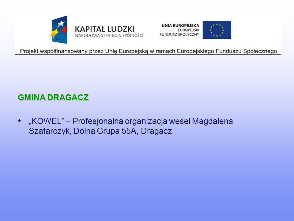 """GMINA DRAGACZ """"KOWEL – Profesjonalna organizacja wesel Magdalena Szafarczyk, Dolna Grupa 55A, Dragacz."""