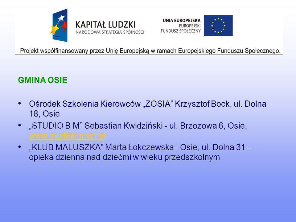 """GMINA OSIE Ośrodek Szkolenia Kierowców """"ZOSIA Krzysztof Bock, ul. Dolna 18, Osie."""