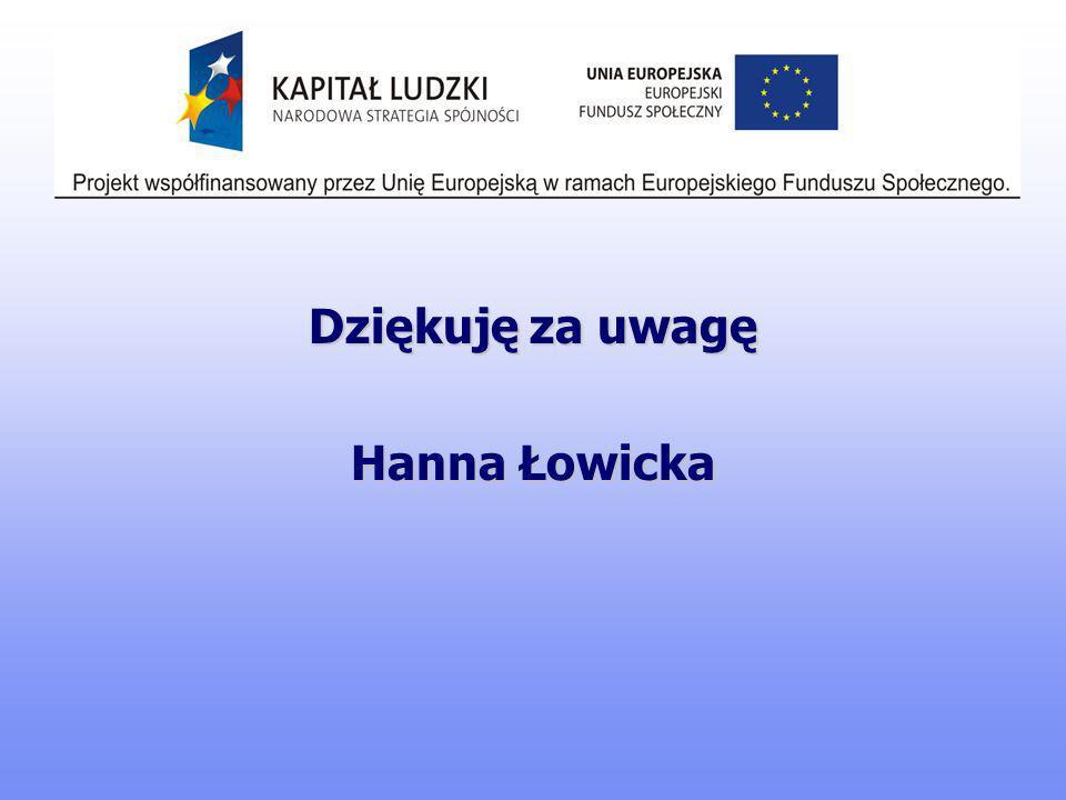 Dziękuję za uwagę Hanna Łowicka