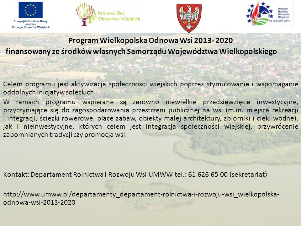Program Wielkopolska Odnowa Wsi 2013- 2020