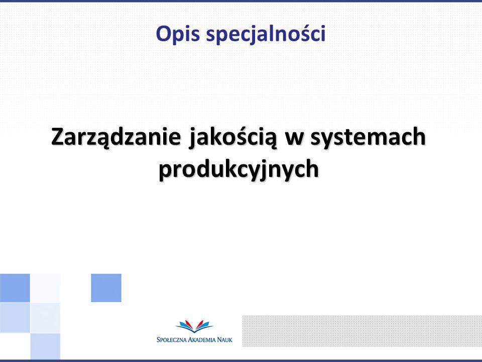 Zarządzanie jakością w systemach produkcyjnych