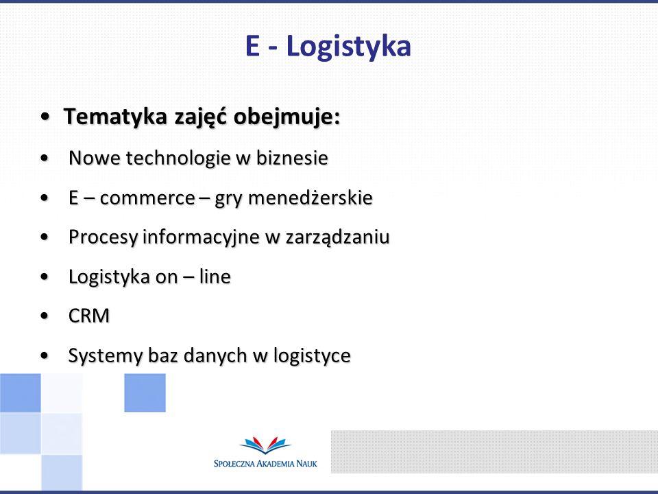 E - Logistyka Tematyka zajęć obejmuje: Nowe technologie w biznesie