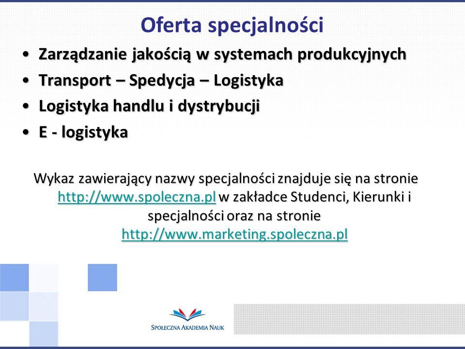 Oferta specjalności Zarządzanie jakością w systemach produkcyjnych