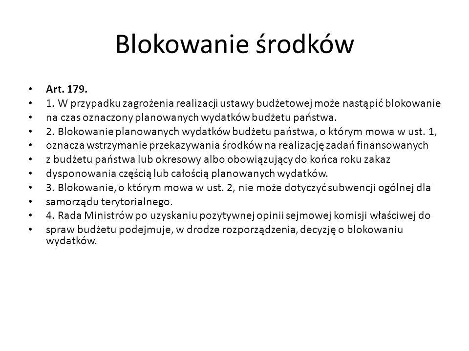 Blokowanie środków Art. 179.