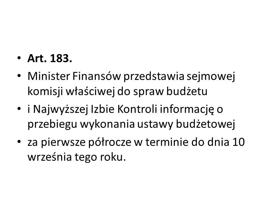 Art. 183. Minister Finansów przedstawia sejmowej komisji właściwej do spraw budżetu.