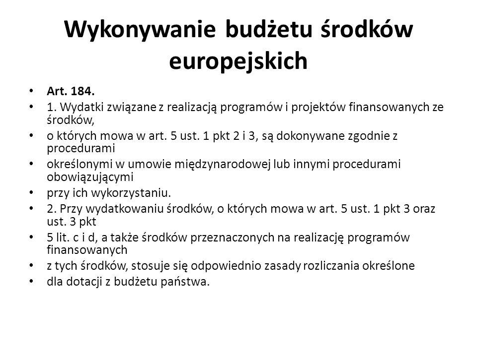 Wykonywanie budżetu środków europejskich