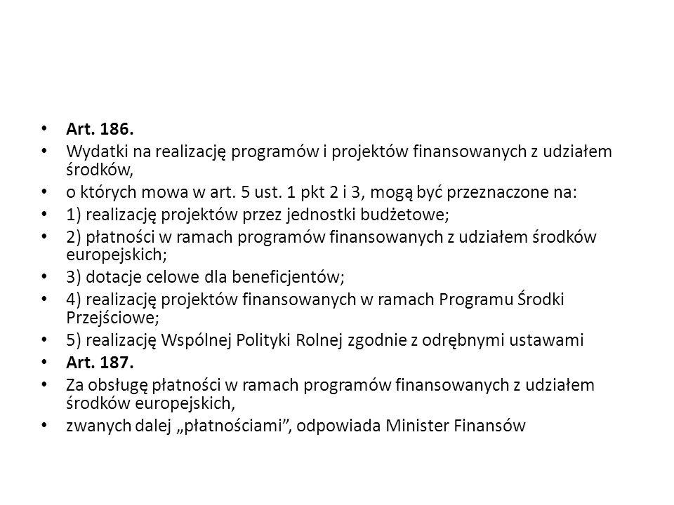Art. 186. Wydatki na realizację programów i projektów finansowanych z udziałem środków,