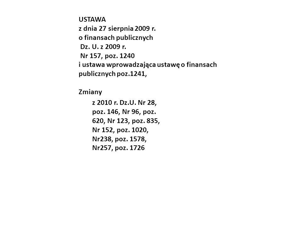 USTAWA z dnia 27 sierpnia 2009 r. o finansach publicznych. Dz. U. z 2009 r. Nr 157, poz. 1240.