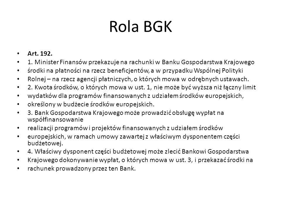 Rola BGK Art. 192. 1. Minister Finansów przekazuje na rachunki w Banku Gospodarstwa Krajowego.